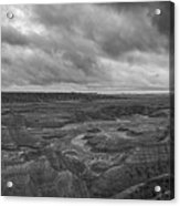 Big Badlands Overlook Panorama 2 Bw Acrylic Print