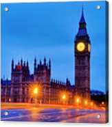 Big Ben At Night Acrylic Print by Donald Davis