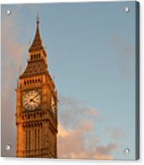 Big Ben Tower With Blue Sky And Some Clouds Acrylic Print