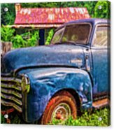 Big Blue Chevy At The Farm Acrylic Print