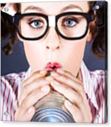 Big Business Kid Making Phone Call With Tin Cans Acrylic Print