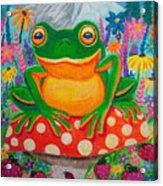 Big Green Frog On Red Mushroom Acrylic Print