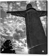 Big Jesus - Christ Of The Ozarks In Black And White Acrylic Print
