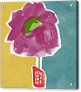 Big Purple Flower In A Small Vase- Art By Linda Woods Acrylic Print