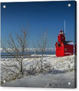 Big Red Lighthouse In Winter Acrylic Print