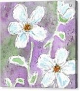 Big White Flowers Acrylic Print
