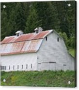 Big White Old Barn With Rusty Roof  Washington State Acrylic Print