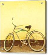 Bike And Yellow Wall Acrylic Print