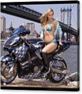 Bike, Babe, And Bridge In The Big Apple Acrylic Print