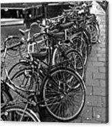 Bike Parking -- Amsterdam In November Bw Acrylic Print