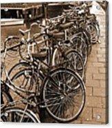 Bike Parking -- Amsterdam In November Sepia Acrylic Print