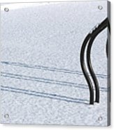 Bike Racks In Snow Acrylic Print