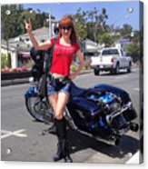 Biker Girl. Model Sofia Metal Queen Acrylic Print