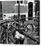 Bikes Hanging Out Mono Acrylic Print