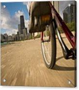 Biking Chicagos Lakefront Acrylic Print