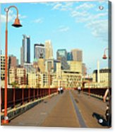 Biking On The Stone Arch Bridge Acrylic Print