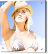 Bikini Lady Against Blue Sky Background Acrylic Print