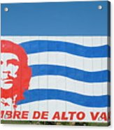 Billboard With The Iconic Che Guevara Portrait And National Cuban Flag Acrylic Print