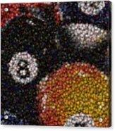 Billiard Ball Bottle Cap Mosaic Acrylic Print