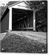 Billie Creek Covered Bridge Black And White Acrylic Print