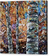 Birch Trees Oil Painting With Palette Knife  Acrylic Print