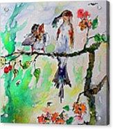 Bird Feeding Baby Watercolor Acrylic Print