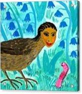 Bird People Blackbird And Worm Acrylic Print