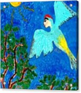 Bird People Green Woodpecker Acrylic Print