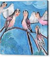 Bird People Long Tailed Tits Acrylic Print