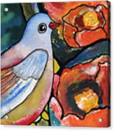 Bird With Prickly Pear Cactus Flowers Acrylic Print