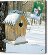 Birdhouse And Deer Flag Acrylic Print
