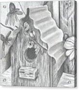 Birdhouse And Flowers Acrylic Print