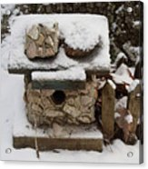 Birdhouse In The Snow Acrylic Print