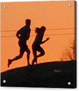 Birds And Fun At Butler Park Austin - Jogging - Sunset Run Acrylic Print