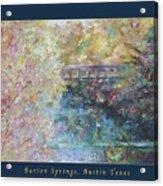Birds Boaters And Bridges Of Barton Springs - Autumn Colors Pedestrian Bridge Greeting Card Poster Acrylic Print