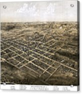 Birds Eye View Of The City Of Coldwater, Michigan - 1868 Acrylic Print