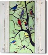 Birds In The Tree Framed Acrylic Print
