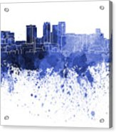 Birmingham Al Skyline In Blue Watercolor On White Background Acrylic Print