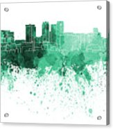 Birmingham Al Skyline In Green Watercolor On White Background Acrylic Print