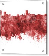 Birmingham Skyline In Red Watercolor On White Background Acrylic Print
