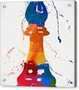 Bishop Chess Piece Paint Splatter Acrylic Print