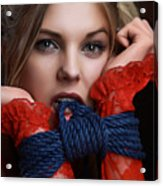 Bite Me - Beauty Portrait - Fine Art Of Bondage Acrylic Print