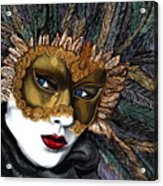 Black And Gold Carnival Mask Acrylic Print