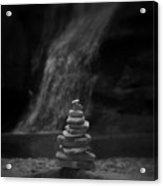 Black And White Balanced Stones Acrylic Print