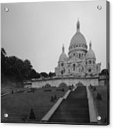 Basilique Du Sacre Coeur In Pre Dawn Paris Bw Acrylic Print