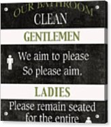 Black And White Bathroom Rules Acrylic Print