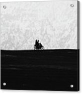 Black And White Capture Of Two People Riding On The Motorbike In The Distance Acrylic Print