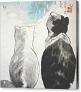 Black And White Cat Fantasy Acrylic Print