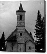 Black And White Church In Williston North Dakota. Acrylic Print