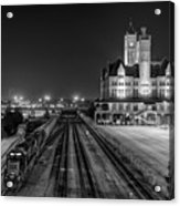 Black And White Fine Art Print Of Union Station In Nashville, Tennessee Acrylic Print